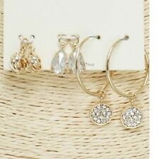 Gold and Clear Crystal 3 Piece FASHION Earring Set