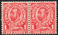SG 350a 1912 1d Scarlet Wmk Multiple Cypher No cross on Crown horizontal pair UM