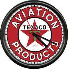 Texaco Gas Oil Service Station Attendant Aviation Pilot Pump Sign Wall Clock