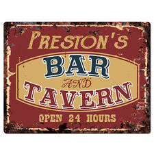 PPBT0360 PRESTON'S BAR and TAVERN Rustic Tin Chic Sign Home Store Decor Gift