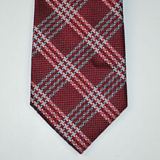 NWT COUNTESS MARA Textured Burgundy Diamond Plaid 100% Silk Neck Tie