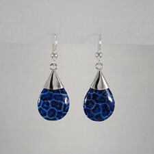Genuine 925 Sterling Silver Blue Sponge Coral Teardrop Earring