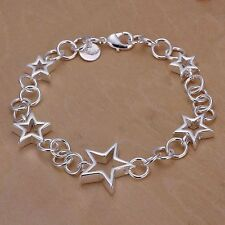 New 925 Sterling Silver Star Chain Bracelet FREE 1-DAY SHIPPING