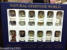 12 Bottles Of Natural Chip Gemstone In Box 9.5X7.00""