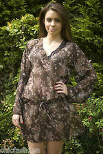Brown Beach Kaftan Beach Wrap Holiday Top Blouse  Beachwear & Swim UK Seller