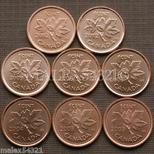 THE RAREST MODERN 1 CENT SET UNCIRCULATED (8 COINS)   FREE $HIPPING IN CANADA!
