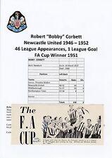 BOBBY CORBETT NEWCASTLE UNITED 1946-1952 RARE ORIGINAL SIGNED ANNUAL CUTTING