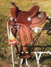 "8"" brown nylon/suede Krypton miniature horse Western saddle"