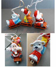 Lot 3 Figurines Jouet Ancien Noël Suspension Kinder Surprise Luge An. 90