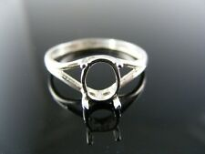 508  RING SETTING STERLING SILVER, SIZE 7.25, 8X6 MM OVAL CAB OR FACETED STONE