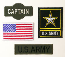 US ARMY Captain Military Patch Set - Embroidered Iron-On, Costume - NEW