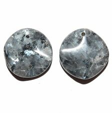 P2182f Black Labradorite 24mm Wavy Flat Coin Drop Gemstone Pendant Beads 2/pk