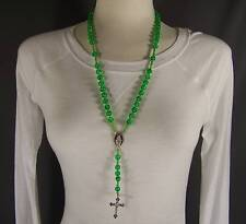 "Green clear plastic bead beaded rosary cross 24"" long necklace cross pendant"