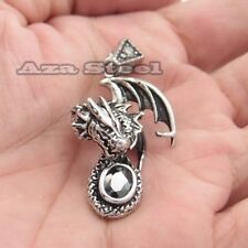 Men's Black Onyx Flying Dragon 316L Stainless Steel Pendant Chain Necklace