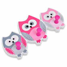 3 Owl Hooks Wall Hanger Wood Painted Animal Pink Child