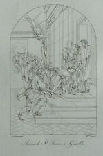 Arrivée de Saint Bruno à Grenoble d'après Eustache le Sueur Gravure 19ème