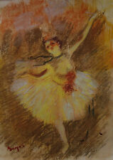 Rare Unique Original pastel, drawing, signed Edgar Degas, w COA, Monet era