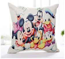 """Disney Mickey Minnie Cartoon 17"""" Square Cushion Cover Pillow Case Cute Home Gift"""