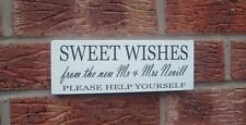 Wedding shabby vintage chic sweet wishes mr & mrs Table Sign Plaque candy bar