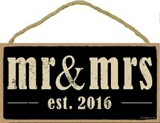 Novelty-Fun Wood Sign-Plaque--MR. & MRS. est. 2016