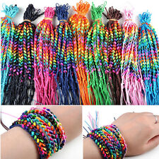 Hot!Wholesale Bulk Lots Colorful Braid Friendship Cords Strands Bracelets 50pcs