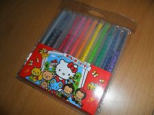 Sanrio Hello Kitty 12 color twist up crayon travel set school craft stationary
