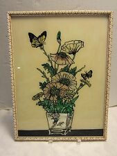 """Reverse Painted Glass foil Art Picture Poppies butterflies Victorian  16.75"""" H"""