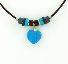 Turquoise color Hand Carved Heart Leather Charm Necklace unique Jewelry New Gift