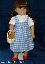 "Dorothy Dress Toto Basket Costume Ruby Slippers Fits 18"" American Girl Doll  5PC"