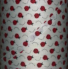 "5 Yards 3/8"" RED LADY BUG LADYBUG PRINT GROSGRAIN RIBBON WHITE 4 HAIRBOW"