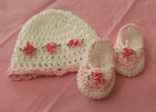 Handmade Crochet Baby Girl Booties,Hat Pink & White Newborn 3 Months