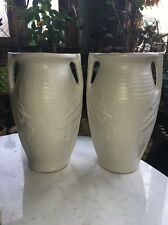 "Vtg Pair Rare 14"" McCoy Sand Dollar Art Vase USA Midcentury Deco White Fireplace"