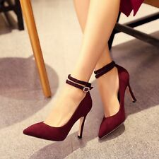Women's Pointed toe Ankle Strap Pumps Buckle Riding High heel Shoes Size US 7.5