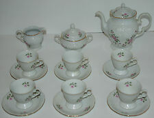 Vintage Wawel China Tea Set White with Flowers & Gold Trim