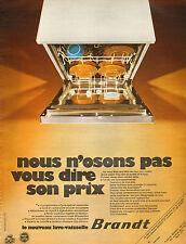 Publicité 1972   BRANDT le nouveau lave vaisselle ...