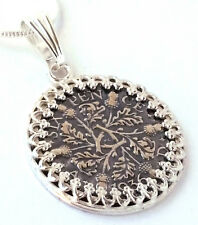 Silver Sixpence Coin Pendant Wedding Jewelry England Sterling Silver Oak Acorn