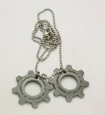 Gears of War 3 Distressed Metal Replica Cog Tags Necklace Valentine's Day Gift