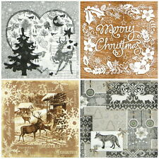 4x Single Table Party Paper Napkins for Decoupage Decopatch Brown Black Mix