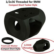 1/2x36 Thread Short Compact Mini Tanker Style Muzzle Brake for 9 MM