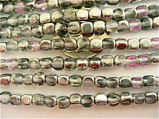 100 Crystal Vitrail Light Czech Glass Cube Beads 4mm