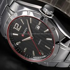 CURREN Silver Black Stainless Steel Date Analog Quartz Mens Sport Wrist Watch