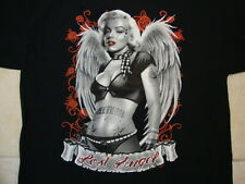Lost Angel Sexy Tattoo Pin Up Girl black and white rockabilly Black T Shirt XL