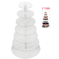 7 Tier Wedding Cupcake Stand Birthday Cake Display Tower Clear Acrylic Round USA