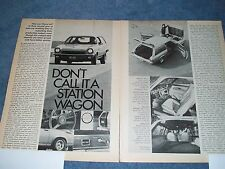 """1972 Chevy Vega Kammback Vintage Info Article """"Don't Call it a Station Wagon"""""""