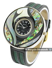 ladies genuine abalone shell big silver tone designer-style resort watch MOP