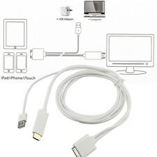 Dock to HDMI HDTV TV ADAPTER USB CABLE for Apple iPhone 4 4S iPad 2 3 iPod BY
