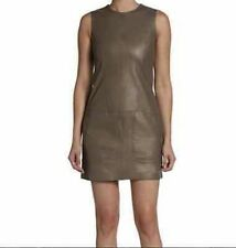 VINCE Soft Lambskin Leather Mini Shift Dress Brown Oak $895 NWT Sz 2