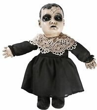 Black and White Creepy Doll With Sound Halloween Yard Decor Prop