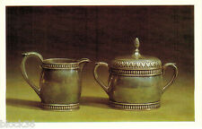 Russian card: FRAME SUGAR-BASIN and CREAM-JUG by Carl Faberge Firm