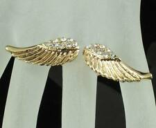 ANGEL WINGS  CLEAR AUSTRIAN RHINESTONE DANGLE COCKTAIL RING STUD E12305 GOLD